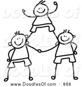 Vector Clipart of a Doodled Childs Sketch of Black and White Boys in a Pyramid by Prawny