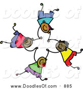 Vector Clipart of a Doodled Childs Sketch of Four Boys Falling and Holding Hands by Prawny