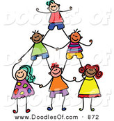 August 17th, 2015: Vector Clipart of a Doodled Childs Sketch of Human Pyramid of Kids by Prawny