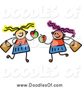 Vector Clipart of a Doodled Childs Sketch of Two Girls Holding Apples by Prawny