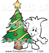 Vector Clipart of a Doodled Christmas Squiggle Guy by a Tree by Toons4Biz