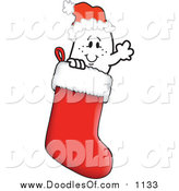 Vector Clipart of a Doodled Christmas Squiggle Guy Wearing a Santa Hat in a Stocking by Toons4Biz
