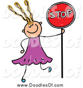 Vector Clipart of a Doodled Dirty Blond White Girl Holding a Stop Sign by Prawny