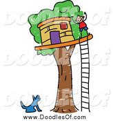 Vector Clipart of a Doodled Dog Barking up at a Boy by His Tree House by Prawny