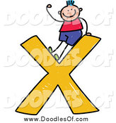 Vector Clipart of a Doodled Friendly Blue Haired White Stick Boy Waving on a Lowercase Letter X by Prawny