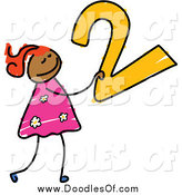 Vector Clipart of a Doodled Girl Carrying a 2 by Prawny
