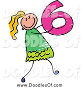 Vector Clipart of a Doodled Girl Carrying a 6 by Prawny