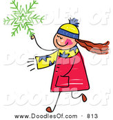 Vector Clipart of a Doodled Girl Carrying a Green Snowflake by Prawny