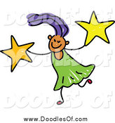 Vector Clipart of a Doodled Girl Carrying Stars by Prawny
