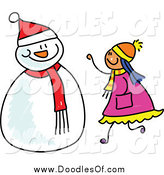 Vector Clipart of a Doodled Girl Making a Snowman by Prawny