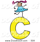 Vector Clipart of a Doodled Girl on a Capital Letter C by Prawny