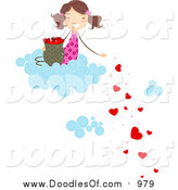 February 26th, 2016: Vector Clipart of a Doodled Girl on a Cloud, Dropping Hearts by BNP Design Studio