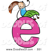 June 22nd, 2016: Vector Clipart of a Doodled Girl on a Lowercase Letter E by Prawny