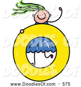 Vector Clipart of a Doodled Girl on a Lowercase Letter O by Prawny