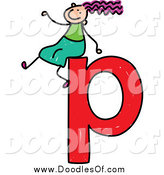 Vector Clipart of a Doodled Girl on a Lowercase Letter P by Prawny