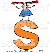Vector Clipart of a Doodled Girl on a Lowercase Letter S by Prawny