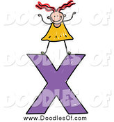 Vector Clipart of a Doodled Girl on a Lowercase Letter X by Prawny