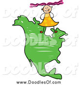 Vector Clipart of a Doodled Girl on a North America Map by Prawny