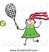 May 31st, 2014: Vector Clipart of a Doodled Girl Playing Tennis by Prawny