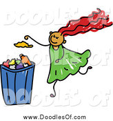 Vector Clipart of a Doodled Girl Putting Garbage in a Can by Prawny