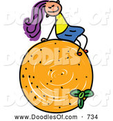 Vector Clipart of a Doodled Girl Sitting on an Orange by Prawny