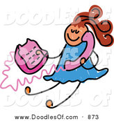 Vector Clipart of a Doodled Girl Using a Pink Phone by Prawny