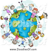 May 2nd, 2014: Vector Clipart of a Doodled Globe with Diverse Playful Children by BNP Design Studio