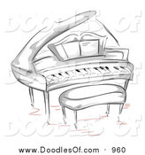 Vector Clipart of a Doodled Grand Piano and Bench by BNP Design Studio