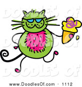 Vector Clipart of a Doodled Green Cat Holding an Waffle Ice Cream Cone by Prawny