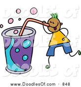 Vector Clipart of a Doodled Green Haired Black Boy Drinking a Huge Soda by Prawny