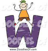 Vector Clipart of a Doodled Green Haired Boy Cheering on a Capital Letter W by Prawny