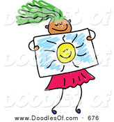 Vector Clipart of a Doodled Green Haired Girl Holding a Drawing of the Sun by Prawny
