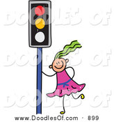 Vector Clipart of a Doodled Green Haired White Girl by a Traffic Light by Prawny
