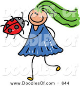 Vector Clipart of a Doodled Green Haired White Girl Holding a Ladybug by Prawny