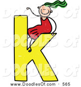 Vector Clipart of a Doodled Green Haired White Girl on a Lowercase Letter K by Prawny