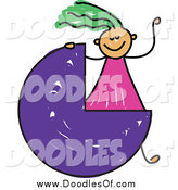 July 22nd, 2015: Vector Clipart of a Doodled Green Haired White Girl Waving by a Three Quarter Circle or Pie Chart by Prawny