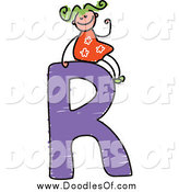 Vector Clipart of a Doodled Green Haired White Girl Waving on a Capital Letter R by Prawny