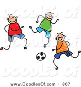 August 28th, 2015: Vector Clipart of a Doodled Group of Boys Playing Soccer by Prawny