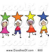 Vector Clipart of a Doodled Group of Kids Holding Stars by Prawny
