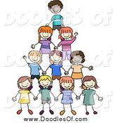 Vector Clipart of a Doodled Group of Kids Making a Pyramid by BNP Design Studio
