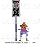 Vector Clipart of a Doodled Happy Black Boy by a Crosswalk Sign by Prawny
