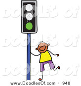 Vector Clipart of a Doodled Happy Black Boy by a Green Traffic Light by Prawny