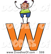 Vector Clipart of a Doodled Happy Black Boy Cheering on a Lowercase Letter W by Prawny