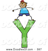 Vector Clipart of a Doodled Happy Black Boy Standing on a Capital Letter Y by Prawny