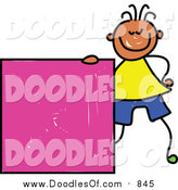 Vector Clipart of a Doodled Happy Black Boy with a Pink Square by Prawny