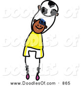 Vector Clipart of a Doodled Happy Black Soccer Boy by Prawny