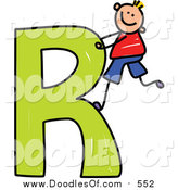 Vector Clipart of a Doodled Happy Blond White Boy Climbing a Capital Letter R by Prawny