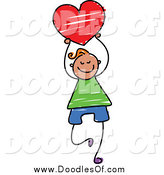 Vector Clipart of a Doodled Happy Boy Holding a Red Heart by Prawny