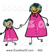 Vector Clipart of a Doodled Happy Mom and Daughter Holding Hands and Wearing Matching Clothes by Prawny
