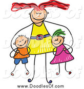Vector Clipart of a Doodled Happy Mom Hugging Her Son and Daughter by Prawny